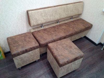 мягкий диван для кухни обит тканью