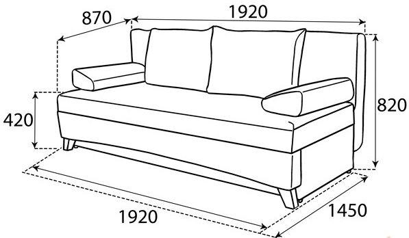размер дивана Вираж