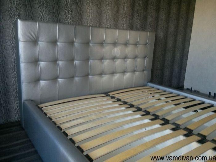 Кровать Стелла, серебристый кожзам